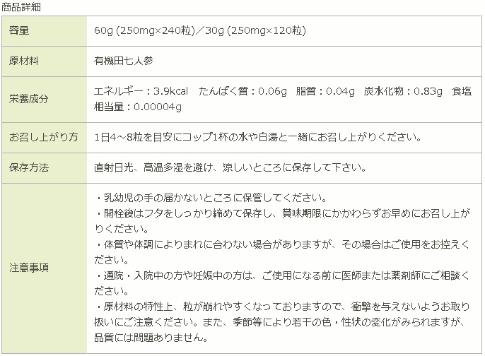 有機田七人参 薬日本堂 原材料